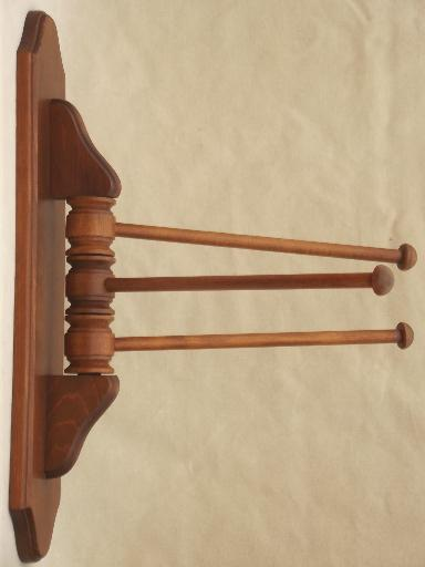 primitive pine  towel hanger bars, vintage kitchen wall mount drying rack