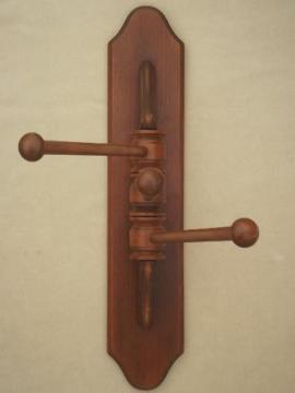 primitive pine  towel hanger bars, vintage kitchen wall mount drying rack