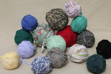 primitive rag balls all vintage fabrics, worn shabby prints & solids for making rugs