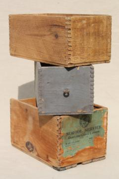 primitive rough wood shipping crates, antique wooden boxes w/ dovetailed finger jointed construction