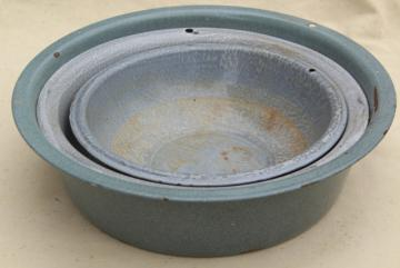 primitive rustic vintage graniteware enamel dish pans or camp basins in shades of grey