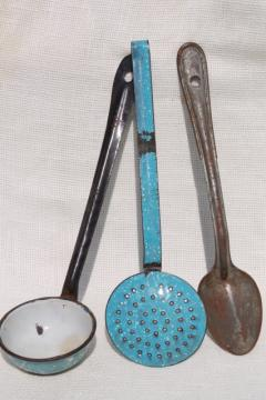 primitive spoons lot dipper, skimmer, long handled metal spoon - vintage camp / kitchen cookware
