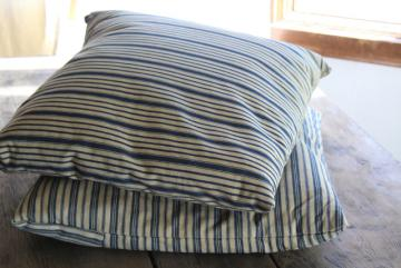 primitive square feather pillows or bench cushions, vintage indigo blue wide stripe fabric