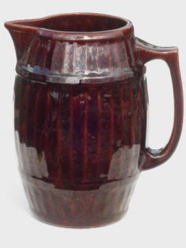 primitive stoneware pitcher, McCoy  pottery old oaken barrel cider pitcher