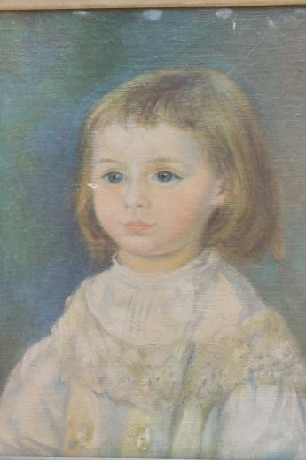 Primitive Style Art Child In White Picture In Shabby