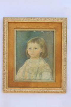 primitive style art child in white picture in shabby vintage gold & velvet frame
