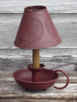 primitive tole table lamp w/ punched tin shade, country barn red paint