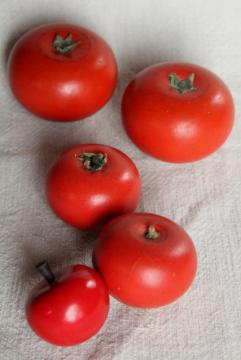 primitive vintage carved wood fruit, red tomatoes or apples, rustic country bowl fillers