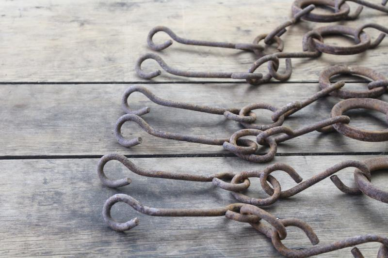 primitive vintage chains w/ cast iron rings, drag for farm cultivator or grain planter
