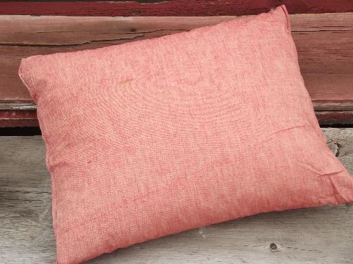 primitive vintage chicken feather pillow, barn red cotton chair cushion