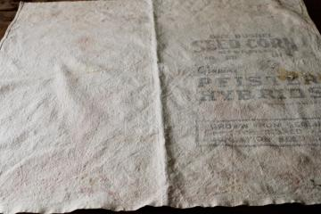 primitive vintage cotton feed sack grain bag fabric w/ old seed corn print graphics