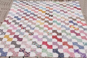 primitive vintage cotton print patchwork quilt top, bow-tie bows in all colors
