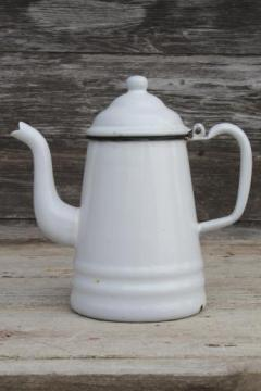 primitive vintage enamelware coffeepot, six cup white enamel coffee or tea pot