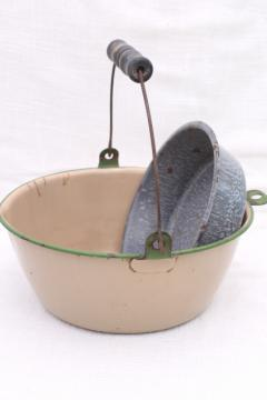 primitive vintage enamelware, grey spatterware pan, cream & green berry pail w/ handle