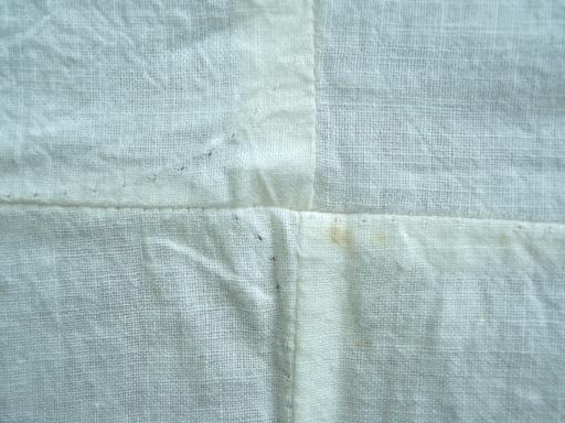 primitive vintage farm table runners sewn up of old cotton sugar sack blocks