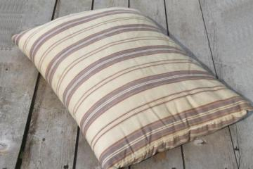 primitive vintage feather pillow w/ old wide striped cotton ticking fabric