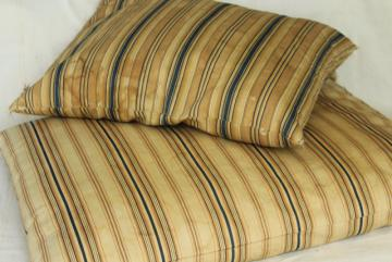 primitive vintage feather pillows w/ wide stripe brown & blue cotton ticking fabric