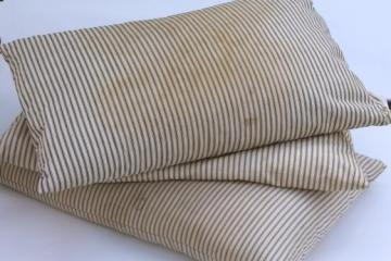 primitive vintage feather pillows with indigo blue striped cotton ticking