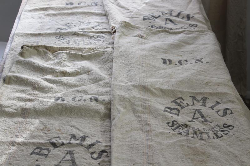 primitive vintage grain sacks, Bemis seamless heavy soft washed cotton feed bags