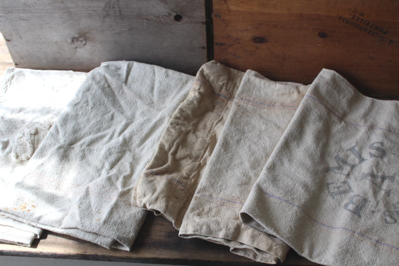 primitive vintage grain sacks w/ patching and mending, seamless type heavy cotton feed bags