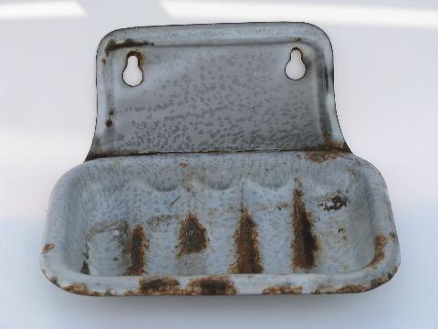 Primitive Vintage Grey Graniteware Wall Mount Soap Dish