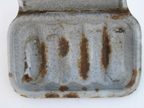 primitive vintage grey graniteware wall mount soap dish, for old farmhouse kitchen sink