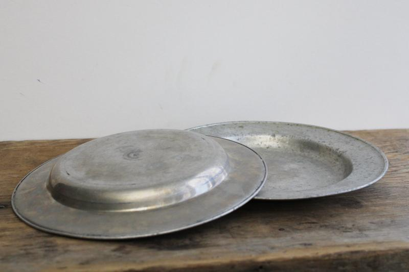 primitive vintage metal plates, antique pewter style rustic old camp plates