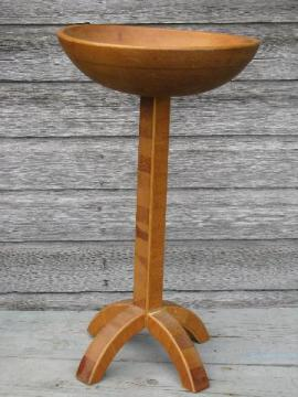 primitive vintage needlework stand, big wood bowl to hold sewing, knitting
