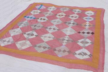 primitive vintage patchwork quilt top - coral pink, bittersweet orange, tan cotton shirting fabric