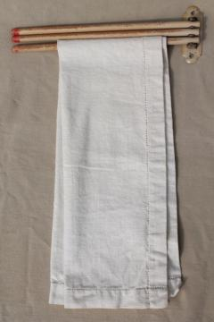 primitive vintage three bar towel rack, wall mount hanger w/ wooden rods