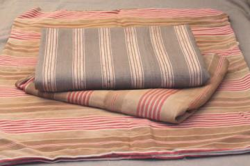 primitive vintage ticking, rustic striped cotton fabric, salvaged antique fabric