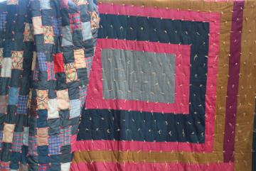 primitive vintage tied quilts, antique wool fabric cotton plaid shirting scrap patchwork