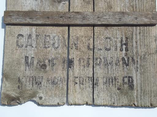 primitive vintage wall art sign, rough barn wood boards w/ stencil lettering