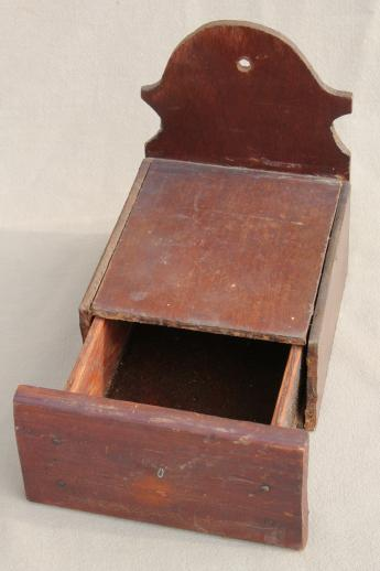primitive vintage wall hanger candle shelf, salt box style w/ spice drawer for matches