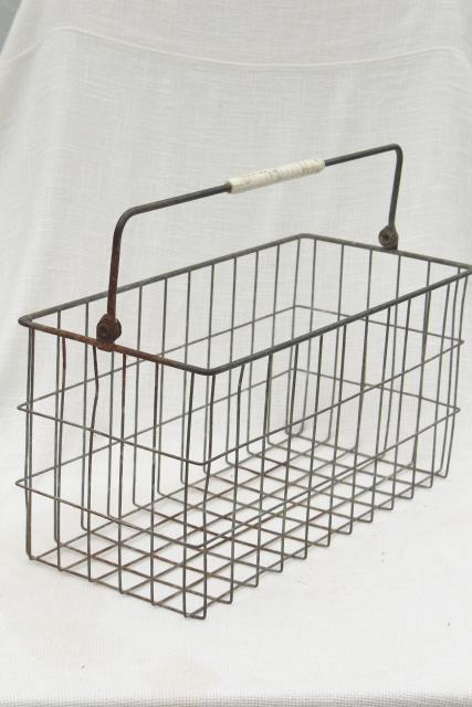 Beautiful Primitive Vintage Wire Basket Milk Bottle Carrier, Rustic Industrial Storage  Or Tote