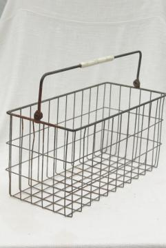 primitive vintage wire basket milk bottle carrier, rustic industrial storage or tote