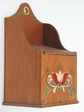 primitive vintage wood salt box, wood wall box w/ folk art painted flowers