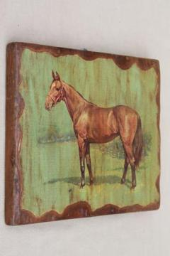 primitive western ranch style wall art, retro vintage horse picture on board
