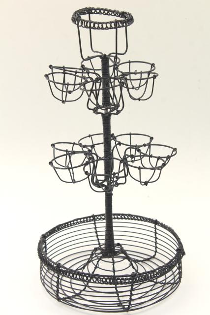 primitive wire basket egg holder, tall stand rack w/ bowl for kitchen table or counter