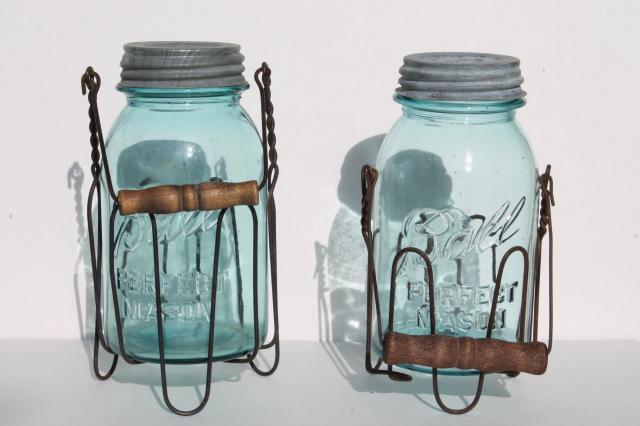 ... rack jar carriers w/ wooden handles, old blue glass Ball Mason jars