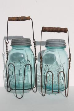 primitive wire rack jar carriers w/ wooden handles, old blue glass Ball Mason jars