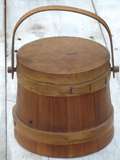 Primitive Wood Sugar Bucket Vintage Wooden Firkin Pail W