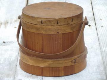 primitive wood sugar bucket, vintage wooden firkin pail w/ handle & lid