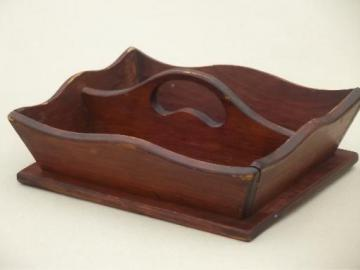 primitive wooden table box for spoons, vintage pine tote box tray w/ handle