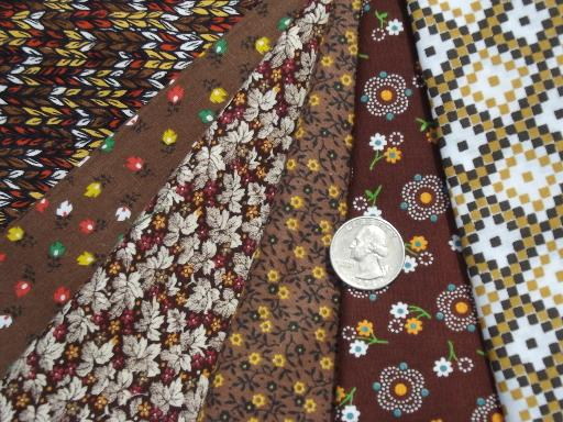 print fabric and scraps lot, tiny prints florals for quilting or doll clothes
