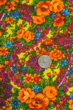 psychedelic colors 60s vintage paisley floral print fabric, crepe textured cotton or blend
