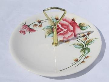 puffy rose pink floral sandwich plate w/ handle, vintage Lefton china