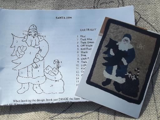 Punch Needle Hooked Santa Kit For Primitive Wall Hanging