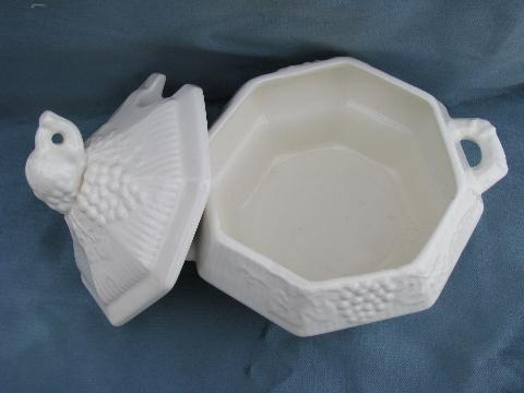 pure white ceramic soup tureen in fruits pattern, vintage California pottery