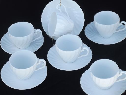 & pure white china cups u0026 saucers vintage Snowhite Regency Johnson Bros.